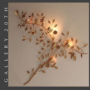 Image Is Loading Hollywood Regency Mid Century Gold Rose Branch Wall