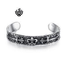 Silver fleur-de-lis engraved bangle stainless steel cuff bracelet