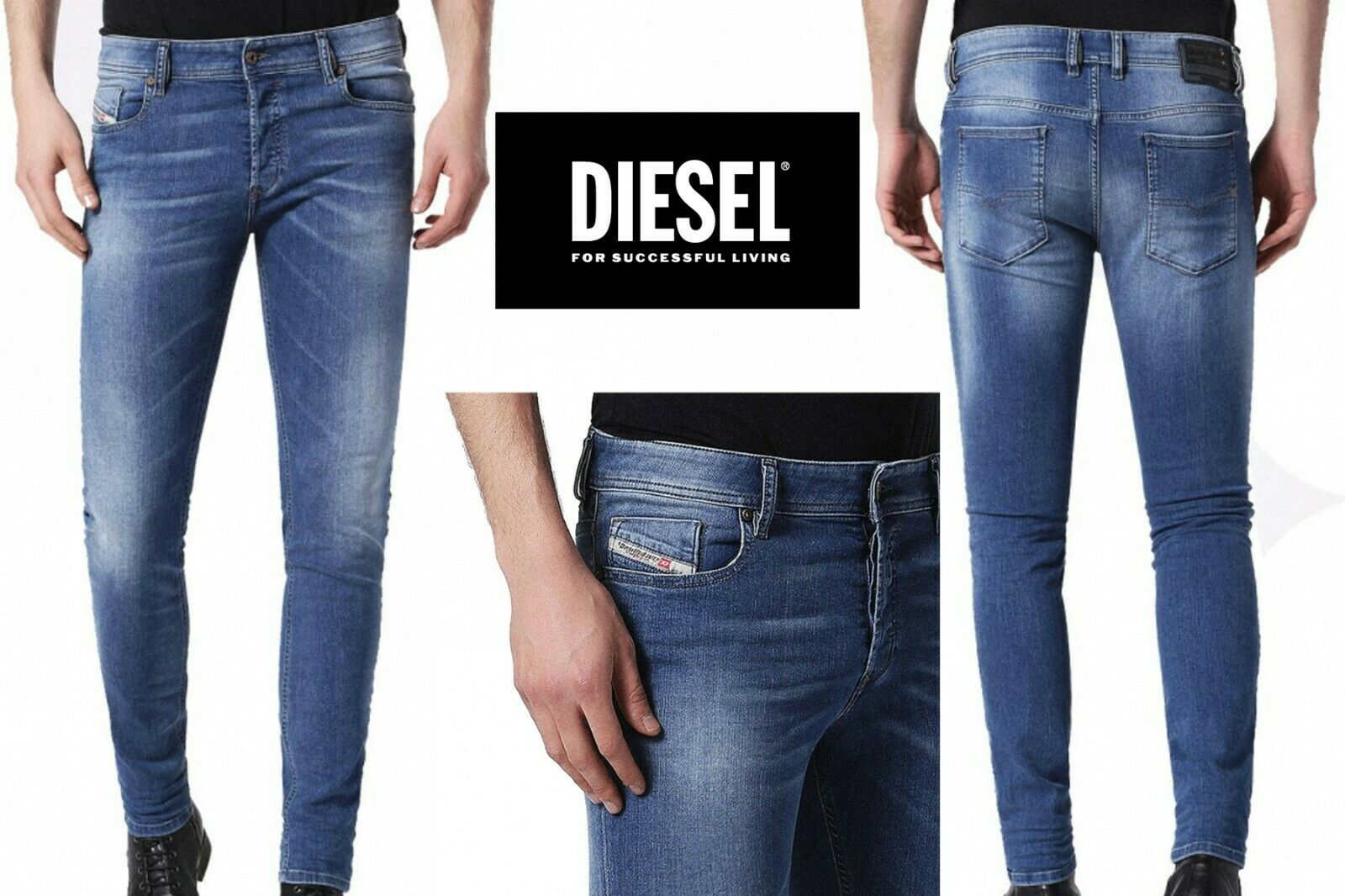 DIESEL Men Jeans SLEENKER Slim-Skinny 084HD Stretch Jeans