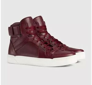 ef6e30d02f3 Image is loading GUCCI-386738-Mens-Leather-Burgandy-High-top-Basketball-