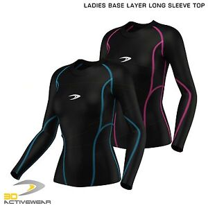 Ladies-Compression-Top-Long-Sleeve-Base-Layer-Running-Gym-Training-Top