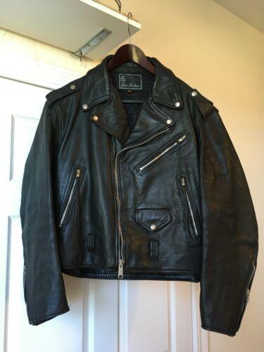 Gino Vintage Motorcycle Leather Jacket 46 biker wi