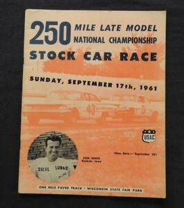 1961 402.3km National Stock-Car Championnat Milwaukee Mile Don Couvercle Blanc HX2cbwK3-07140658-460710119