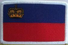 Liechtenstein Flag Embroidered Iron-On Patch Emblem White Border