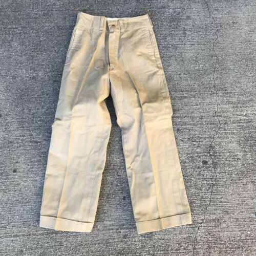 VINTAGE MILITARY KHAKI CHINO PANTS size 23 X 23 19