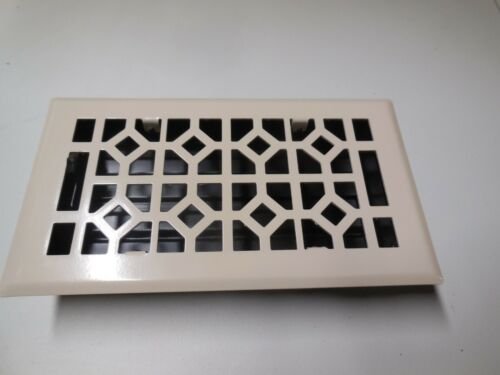 "New Signature Hardware Almond Abstract Floor Register w// Steel Damper 4/"" X 8/"""