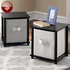 Contemporary END SIDE TABLE PAIR Black Night Stand Cube Storage Unit Set of 2