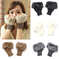 WOMEN'S FAUX RABBIT FUR HAND WRIST WARMER WINTER FINGERLESS GLOVES FASHION KNIT