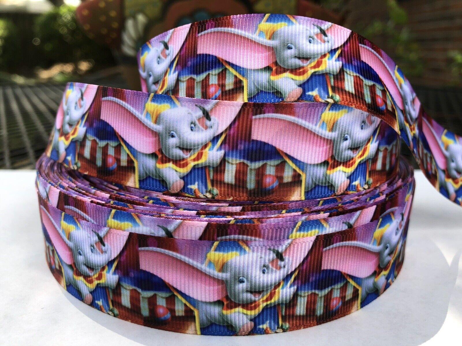 By The Yard 1 Inch Printed Disney Dumbo Grosgrain Ribbon Hair Bows Lisa