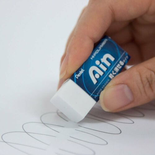 WHITE Pentel Japan ZEAH06 Ain Plastic Eraser 5-Pack XZEAH065