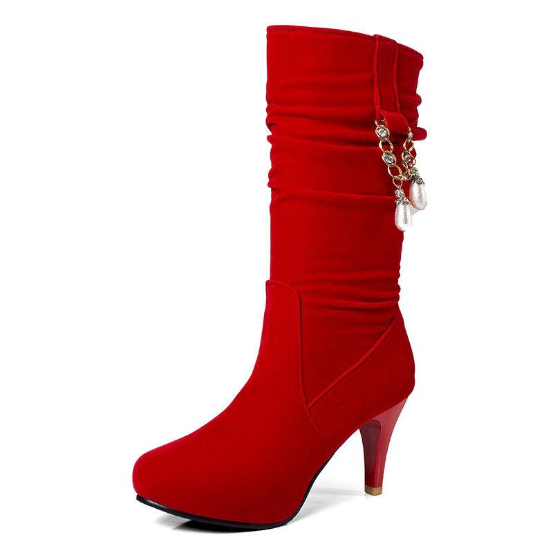 Schick Damen Mode Quaste Wadenhohe Stiefel High Heel Quaste Mode Strass Schuhe Sexy 32-48 98846e