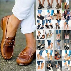 US-Womens-Sneakers-Casual-Flat-Plimsolls-Loafer-Trainers-Slip-On-Pump-Shoes-Size