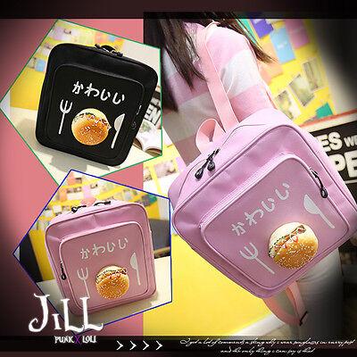 japan street punk shimokitazawa 3D hamburger junk food square backpack J2G342