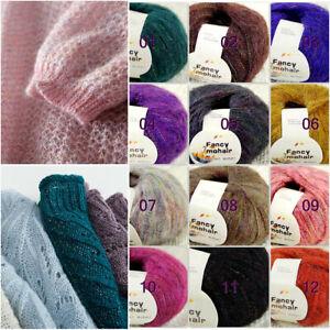 Sale-1Balls-X-50gr-Fluffy-Soft-MOHAIR-Rainbow-Shawls-Hand-Knit-Crochet-Yarn-UK
