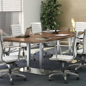 Ft CONFERENCE TABLE AND CHAIRS SET With Metal Base Modern - Conference room table and chairs set