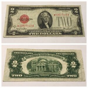 VINTAGE two DOLLAR $2 STAR 1928-G UNITED STATES NOTE RED SEAL JEFFERSON BILL USN