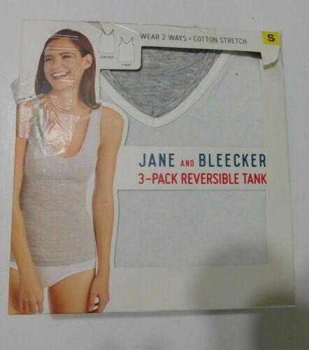 Jane /& Bleecker 3 pack Cotton Stretch V Tank Size SMALL  Black White Gray NEW