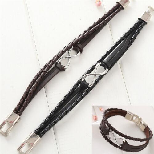 Unendlichkeit Armbänder Hand geflochtene Charms Leder Seil ArmreifenArmbandGRSH5