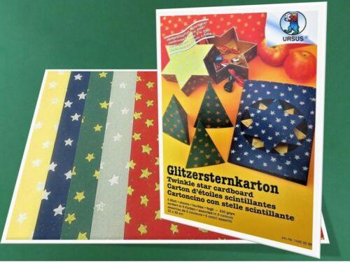 Sternekarton Glitzerkarton Glitzer Glitter Pappe Karton 23x33cm 5Bl 15,26€//m²
