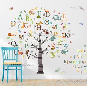 huge alphabets abc tree nursery wall art decal stickers children