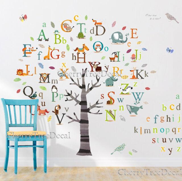 Huge Alphabets ABC Tree Nursery Wall Art Decal Stickers Children Kids Home Decor  sc 1 st  eBay & HUGE Alphabets ABC Tree Nursery Wall Art Decal Stickers Children ...