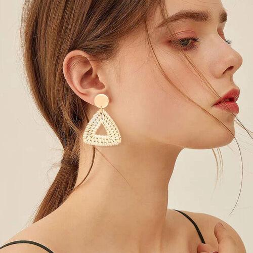 Rattan Earrings Women Handmade Straw Wicker Braid Drop Dangle Earrings Jewelry T