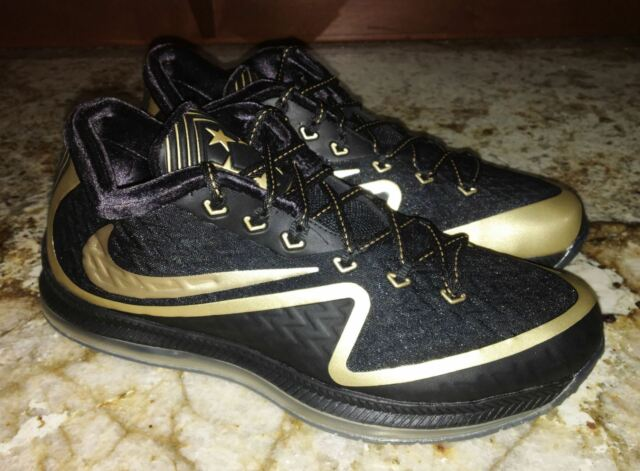 finest selection cd201 6a5a5 NIKE Field General II Super Bowl 50 Black Gold Football Training Shoes 10  11.5