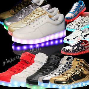 HOT-Unisex-7-LED-Light-Up-Casual-Shoes-Luminous-PU-Sportswear-Lace-Flat-Sneaker