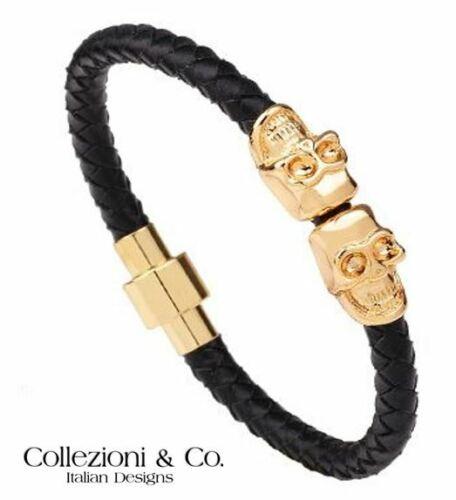 """Homme c/&c en cuir italien noir Tresse Tressé Corde 8.5/"""" Magnétique Crâne Bracelet"""