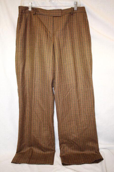 BROOKS BredHERS Petite 100% Wool Brown Houndstooth Flat Pant, 10P -B133
