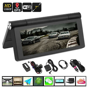 "WIFI HD 1080P 7"" Android Car Dual Camera Rear View DVR Recorder + GPS Navigator"