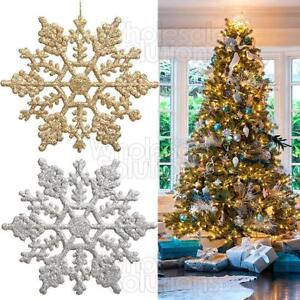 Christmas-Glitter-Snowflakes-Decorations-Xmas-Tree-Hanging-Ornaments-Gold-Silver