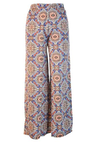 Womens Wide Leg Summer Holiday Stretch Trousers Blue Orange Red ex Boohoo