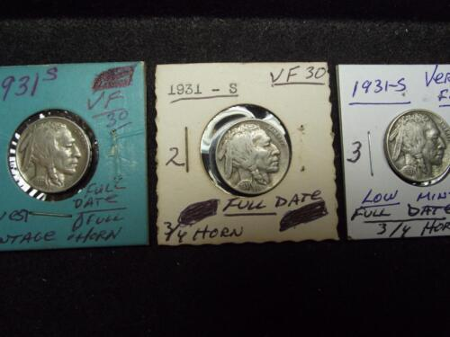 1931-S Buffalo Nickel FULL 4-Digit Date /& 3//4 HORN VERY FINE Condition