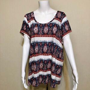 Lucky-Brand-Blue-Red-Short-Sleeve-Scoop-Neck-Tribal-Print-T-Shirt-Womens-2X