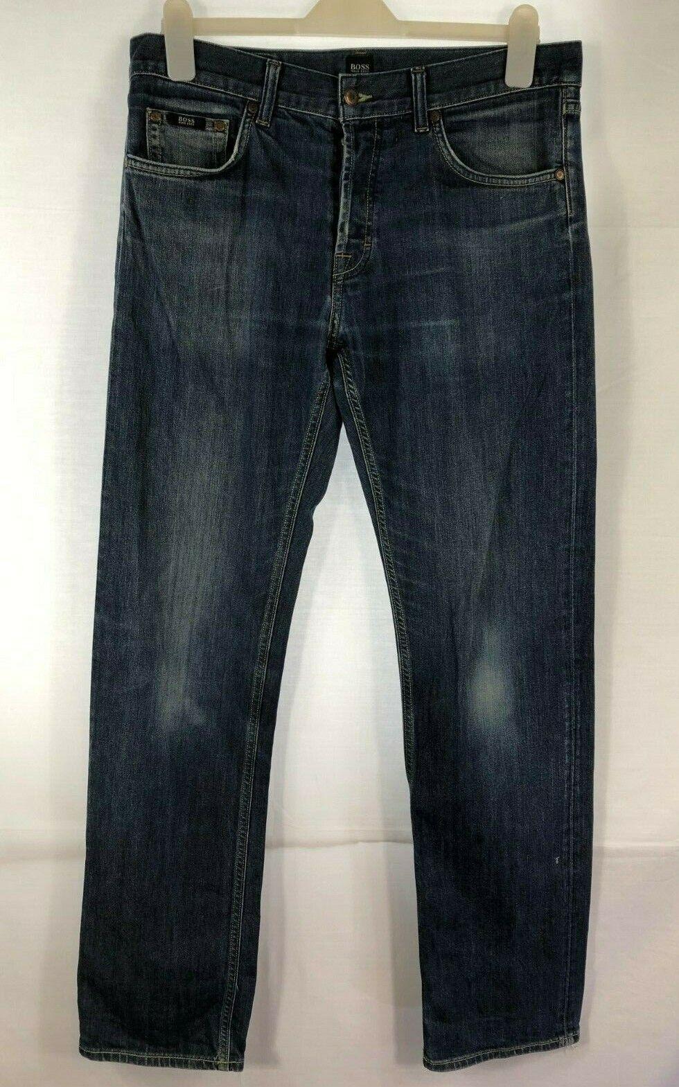 HUGO BOSS Scout1 Dark bluee Regular Fit Button Fly Stretch Jeans 34Waist  23Leg