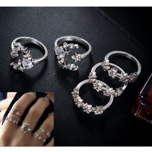 5PCS-Set-Luxury-Crystal-Silver-Star-Flower-Stackable-Sparkly-Rings-Boho-Jewelry