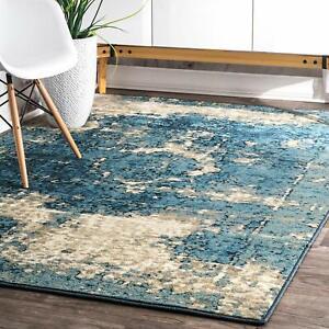 Carpet Area Rug 5 3 X 7 8 Blue Shabby Chic Farmhouse Coastal Beach Abstract Ebay