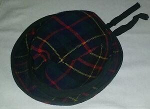 Cappello-034-vintage-034-in-tessuto-scozzese-per-bambino-bambina