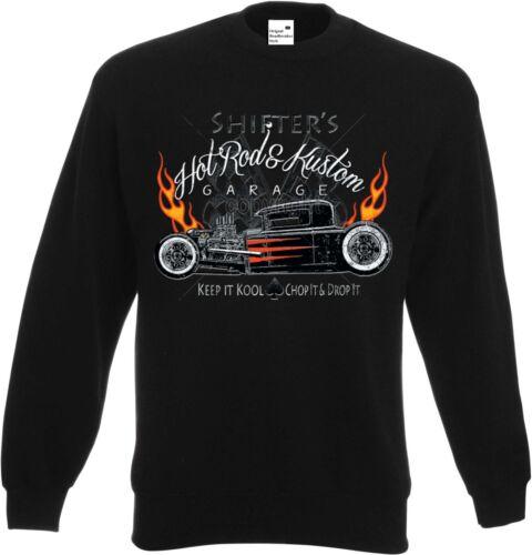 Sweatshirt in schwarz mit einem Hot Rod-,US Car /& `50 Stylemotiv Modell Shifter`