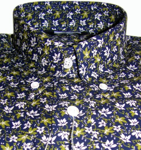 Relco Navy Green /& White Floral Men/'s Shirt Casual Vintage 100/% Cotton