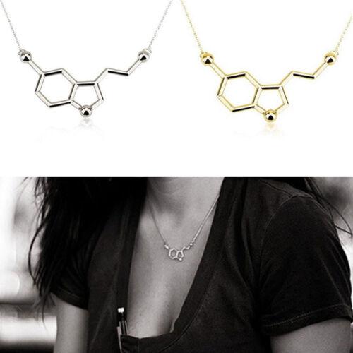 Women Gift Trendy Copper Serotonin Molecule Pendant Necklace With Long Chain