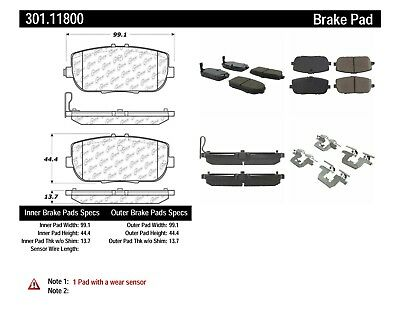 Disc Brake Pad Set-Premium Ceramic Pads with Shims Rear Centric 301.18480