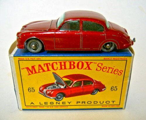 Matchbox RW 65b JAGUAR 3.4 rougemetallic RARE ungelistete radvariante Dans Box