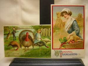 2-Vtg-1911-Thanksgiving-Postcards-Turkeys-Made-in-Germany-Harvest-John-Winsch
