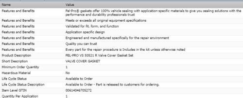 FEL-PRO Valve Cover Gasket Set For 2002-2003 DODGE RAM 1500 V8-4.7L