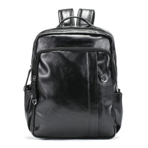 b4ff3bd09f Details about Men s Small Faux Leather Backpack Rucksack Daypack College School  bag Travel Bag