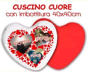 CUSCINO-CUORE-RETRO-ROSSO-cm40X40-Personalizzato-con-3-FOTO-a-scelta-IMBOTTITURA