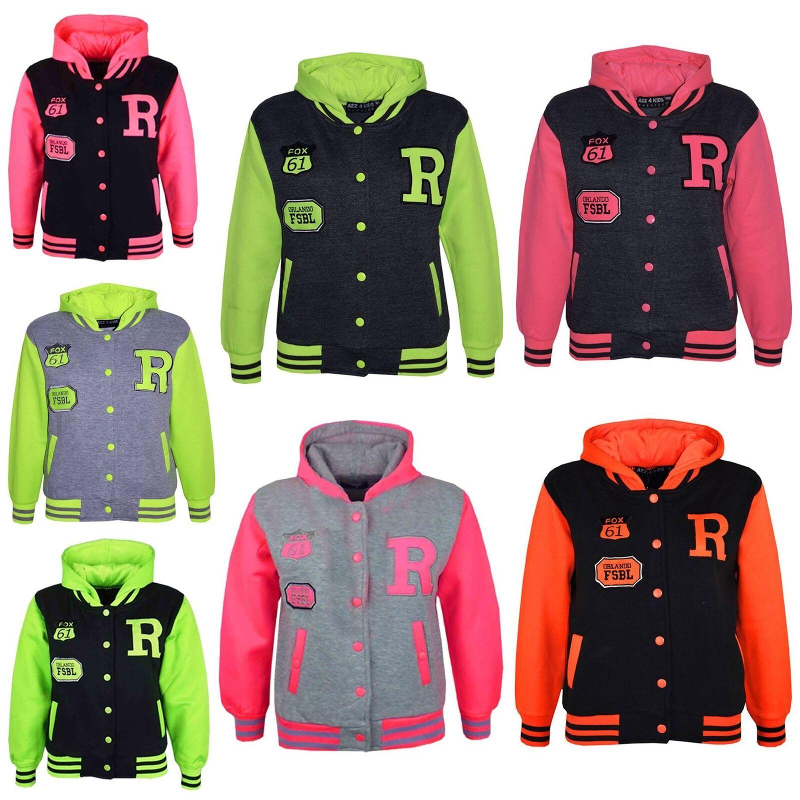 Kids Girls Boys R Fashion Baseball Grey Neon Green Hooded Jackets Varsity Hoodie