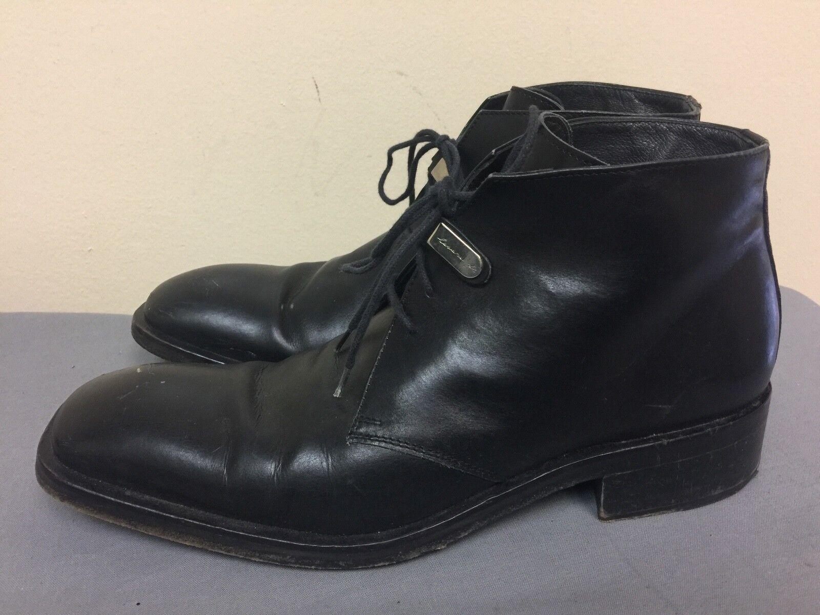 botas al Tobillo de Cuero Cesare Paciotti Vestido Zapatos Con Cordones Negro Sz 8 US Italia